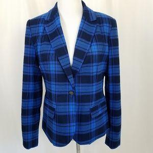 Merona size 12 Blue Plaid Blazer Jacket